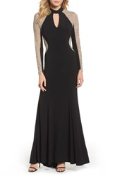 87914317ca8 Xscape Evenings Beaded Choker Neck Gown Black Nude Silver