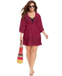 Dotti Plus Size Laser Cutout Cover Up Women's Swimsuit Wine