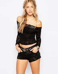 Free People Lace Layering Long Sleeve Top In Black Black0010