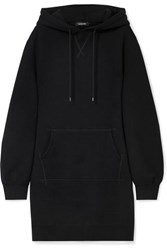 R 13 R13 Oversized Hooded Cotton Blend Jersey Dress Black