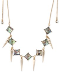 Abs By Allen Schwartz Gold Tone Spike And Abalone Stone Choker Necklace Multi