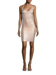 Herve Leger Foiled Halter Cocktail Dress Rose Gold
