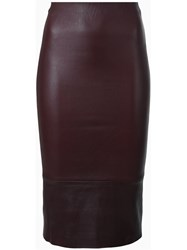 Scanlan Theodore Stretch Leather High Waist Skirt Pink And Purple
