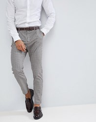 Stradivarius Prince Of Wales Check Chino In Grey