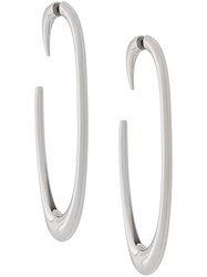 Saint Laurent Semi Hoop Earrings Silver