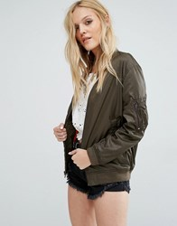 Denim And Supply Ralph Lauren By Longline Bomber Jacket With Contrast Lining Green