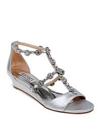 Badgley Mischka Terry Ii Embellished T Strap Demi Wedge Sandals Silver