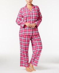 Charter Club Plus Size Printed Flannel Pajama Set Only At Macy's Pink Plaid