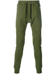 Balmain Quilted Panel Track Pants Green