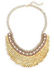 Deepa Gurnani Austrian Crystal And Suede Feather Bib Necklace Goldtone