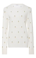Equipment Shane Pineapple Embroidered Sweater Ivory