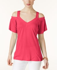Inc International Concepts Off The Shoulder T Shirt Only At Macy's Polished Coral