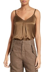 Vince Women's Pleated Silk Camisole Olive
