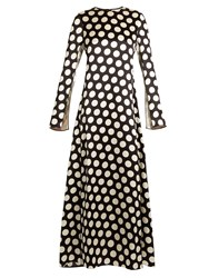 Calvin Klein Koko Polka Dot Satin Maxi Dress Black Beige