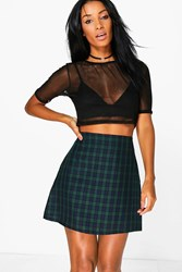Boohoo Tartan Check Woven A Line Mini Skirt Green