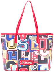 Love Moschino Varsity Logo Graphic Shopper Tote Red