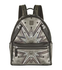Mcm Small Cyber Flash Dual Stark Backpack Female Silver