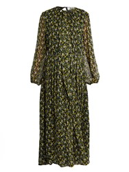 Msgm Floral Print Silk Maxi Dress Green Multi
