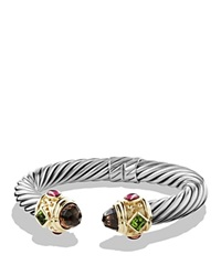 David Yurman Renaissance Bracelet With Smoky Quartz Peridot Pink Tourmaline And Gold Silver Gold