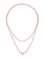 Lj Cross Gem Sautoirs Pink Muscovite And 14K Rose Gold Beaded Pendant Necklace