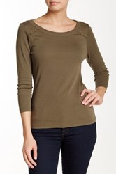 Lilla P Classic 3 4 Sleeve Boatneck Tee Green