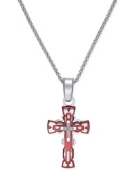 Macy's Men's Diamond Accent Cross Pendant Necklace In Red Anodized Aluminum And Stainless Steel Silver