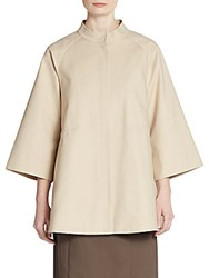 Lafayette 148 New York Raglan Sleeve Swing Jacket Khaki