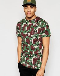Friend Or Faux T Shirt Camo Back Print Green