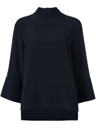 Studio Nicholson High Neck Flare Sleeve Jumper Blue
