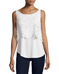 Ella Moss Crescent Sleeveless Floral Overlay Top Natural