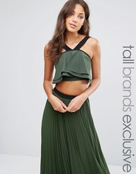 True Decadence Tall Strappy Fluted Crop Top Khaki Green