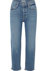 Grlfrnd Helena Cropped Distressed Mid Rise Straight Leg Jeans Mid Denim
