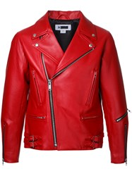 H Beauty And Youth Zip Up Biker Jacket Red