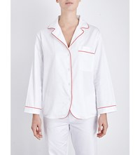 Bodas Cotton Sateen Pyjama Shirt White With Red