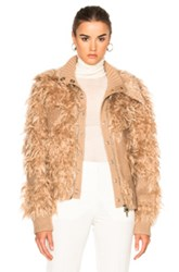 3.1 Phillip Lim Double Collar Faux Fur Bomber Jacket In Neutrals