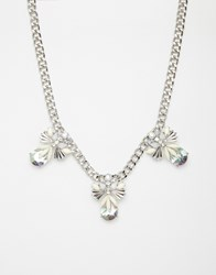 Warehouse Floral Stone Collar Necklace Silver