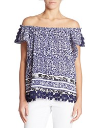 Lord And Taylor Printed Cold Shoulder Top Evening Blue