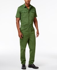 Guess Men's Carter Twill Jumpsuit Military Green