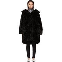 Balenciaga Black Faux Fur Swing Coat