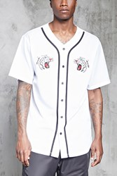 Forever 21 Tiger Patch Baseball Jersey White