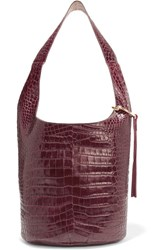 Elizabeth And James Finley Courier Croc Effect Leather Shoulder Bag Burgundy