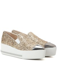 Miu Miu Glitter Platform Slip On Sneakers Gold