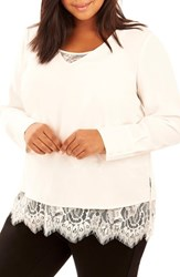 Rebel Wilson X Angels Plus Size Women's Double Layer Blouse White