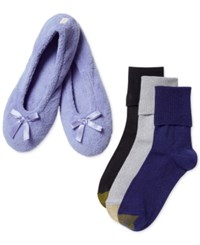 Gold Toe Women's Periwinkle Turn Cuff Socks 3 Pack With Slippers