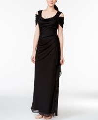 R And M Richards Cold Shoulder Draped Gown