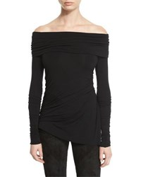 Urban Zen Stretch Jersey Long Sleeve Off The Shoulder Top Black White