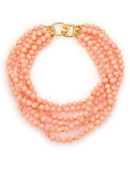 Kenneth Jay Lane Beaded Six Strand Necklace Gold Coral
