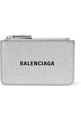 Balenciaga Everyday Glittered Leather Wallet Silver