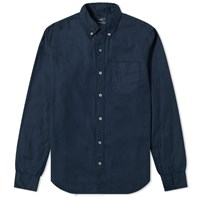 Save Khaki Garment Dyed Button Down Oxford Shirt Blue