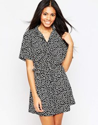 Influence Shirt Dress With Waist Tie In Ditsy Daisy Print Black